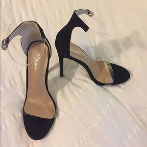 Shoes - Black and Transparent Heels